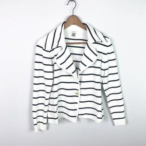 Cache Striped Blazer Size M Ivory Black Ponte Knit